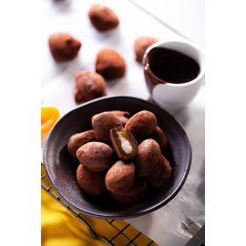 Chocodama recheado com damasco e creme de coco com chocolate 70% cacau 100g - Veganutris