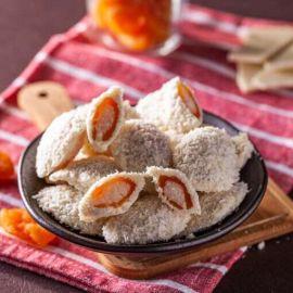 Chocodama recheado com damasco e creme de coco com chocolate branco ao leite de coco 100g - Veganutris