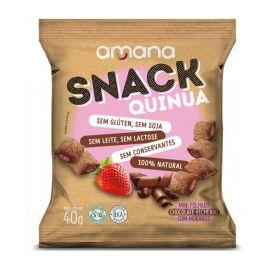 Amana · Snack de quinoa sabor chocolate com morango